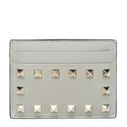 Valentino Light Grey Leather Rockstud Card Holder