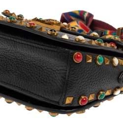 Valentino Black Grained Leather Guitar Rolling Rockstud Shoulder Bag
