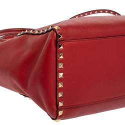 Valentino Red Leather Rockstud Trapeze Tote