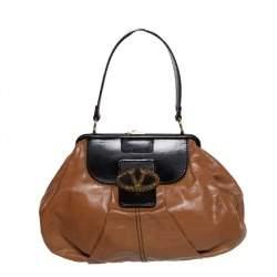 Valentino Brown/Black Leather Frame Satchel