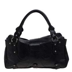 Valentino Black Python Leather Satchel