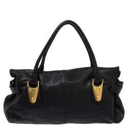 Valentino Black Soft Leather Clasp Flap Satchel