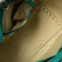 Valentino Green Leather Small Rockstud Trapeze Tote