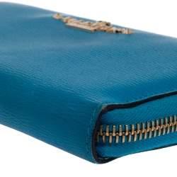 Valentino Azur Leather Logo Zip Around Wallet