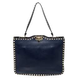 Valentino Blue Leather Rockstud Satchel
