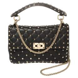 Valentino Black Quilted Leather Rockstud Spike Top Handle Bag