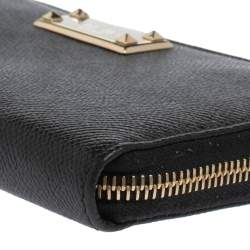 Valentino Black Grained Leather Zip Around Wallet