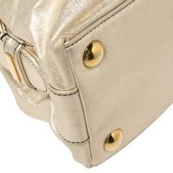 Valentino Metallic Gold Braided Handle Satchel