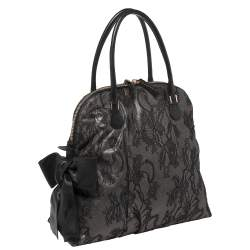 Valentino Black Lace and Leather Bow Dome Satchel