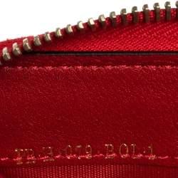 Valentino Red Leather Rockstud Zip Around Wallet