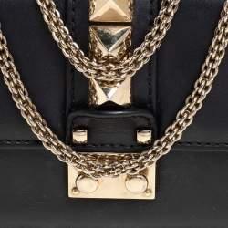 Valentino Black Leather Mini Rockstud Glam Lock Shoulder Bag