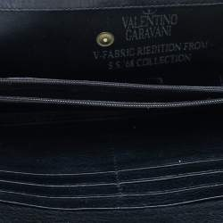 Valentino Black Canvas And Leather Continental Wallet