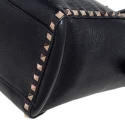 Valentino Black Leather Rockstud Trapeze Tote