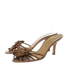Valentino Brown Leather Flower Slides Sandals Size 40.5