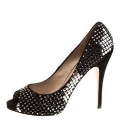 Valentino Black Suede Crystal Embellished Bridal Peep Toe Platform Pumps Size 40