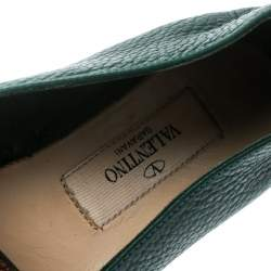 Valentino Green Embroidered Leather Espadrilles Size 35