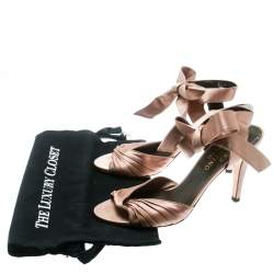 Valentino Blush Pink Pleated Satin Ankle Strap Sandals Size 38.5