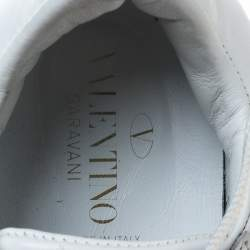 Valentino White And Gold Band Leather Open Low Top Sneakers Size 36