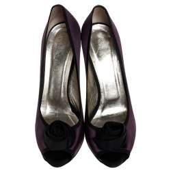 Valentino Purple/Black Two Tone Satin Rosette Peep Toe Platform Pumps Size 40