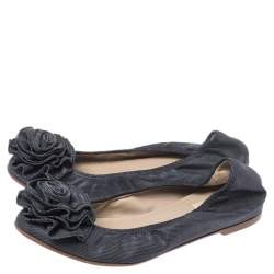 Valentino Grey Canvas Flower Detail Ballet Flats Size 35
