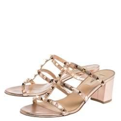 Valentino Metallic Rose Gold Rockstud Block Heel Cage Sandals Size 38