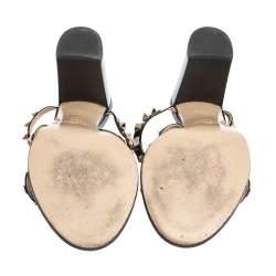Valentino Black Patent Leather Rockstud Strappy Sandals Size 38.5