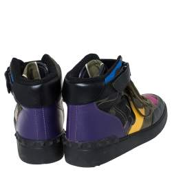 Valentino Multicolor Camoflauge Leather And Canvas High Top Sneakers Size 36
