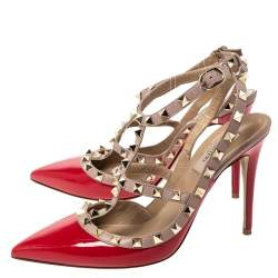 Valentino Red/Beige Patent And Leather Trim Caged Rockstud Sandals Size 39.5