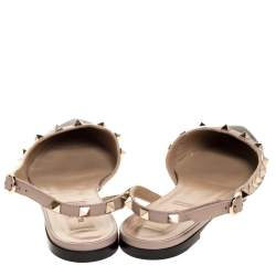 Valentino Black Leather Rockstud Slingback Ballet Flat Size 37.5