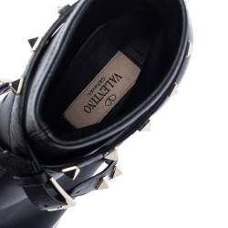 Valentino Black Leather Rockstud Peep Toe Ankle Boots Size 38.5