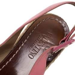 Valentino Pink Leather Studded Bow Espadrille Platform Wedge Sandals Size 38