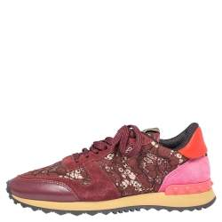 Valentino Maroon Suede and Macramé Lace Rockrunner Sneakers Size 38