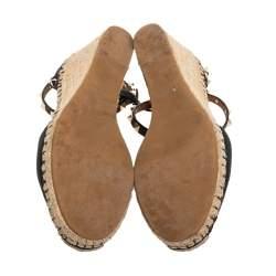 Valentino Black Leather Rockstud Espadrille Wedge Ankle Wrap Sandals Size 40