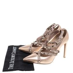 Valentino Metallic Beige Leather Studded Strappy Pointed Toe Pumps Size 37.5