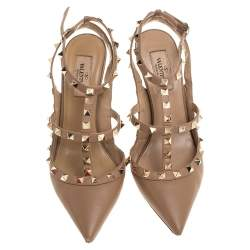 Valentino Beige Leather Rockstud Pointed Toe Ankle Strap Sandals Size 38