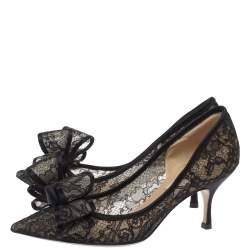 Valentino Black Floral Lace Couture Bow Pointed Toe Pumps Size 35