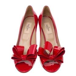Valentino Red Patent Leather Couture Bow Peep Toe Pumps Size 37.5