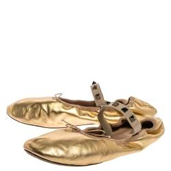 Valentino Gold Leather Rockstud Mary Jane Bow Ballet Flats Size 40.5