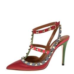 Valentino Multicolor Leather Rockstud Pointed Toe Pumps Size 36