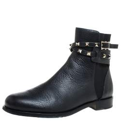 Valentino Black Grained Leather Rockstud Buckle Boots Size 37.5