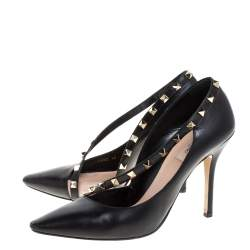 حذاء كعب عالي فالتنينو دورساي مرصع روكستد مقدمة مدببة جلد أسود مقاس 40