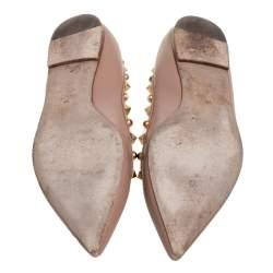 حذاء باليرينا فلات فالنتينو روكستد رولينغ مقدمة مدببة جلد بيج مقاس 37.5