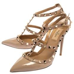 Valentino Beige Patent Leather Rockstud Ankle Strap Sandals Size 39.5