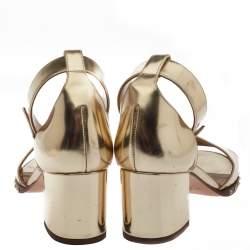 Valentino Gold Patent Leather Soul Rockstud Ankle Strap Sandals Size 38