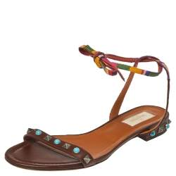 Valentino Brown Leather Rockstud Rolling Ankle Wrap Flat Sandals Size 38