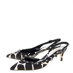 Valentino Black/White Dalmatian Print Canvas And Leather Rockstud D'orsay Slingback Sandals Size 37