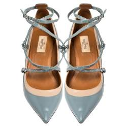 Valentino Blue/Beige Leather Kitten Heels Ankle Strap Pointed Toe Pumps Size 39.5