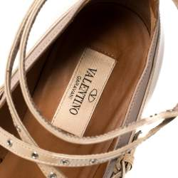 Valentino Beige Patent Leather Love Latch Pumps Size 39