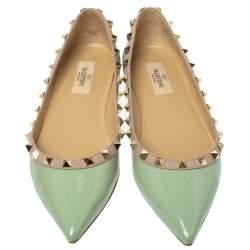 Valentino Mint Green Patent Leather Rockstud Ballet Flats Size 38.5