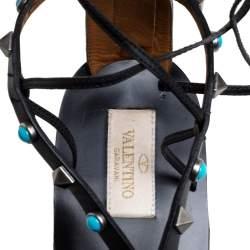 Valentino Black Leather Rolling Rockstud Gladiator Flat Sandals Size 41